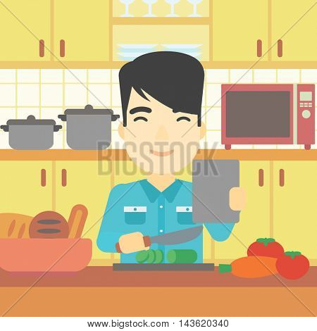 An asian man cutting vegetables for salad. Man following recipe for salad on digital tablet. Man cooking vegetable salad in the kitchen. Vector flat design illustration. Square layout.