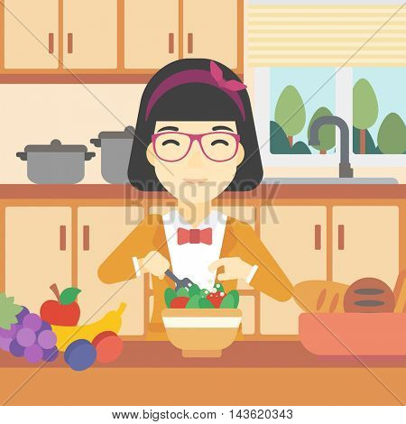 An asian young woman cooking vegetable salad on the background of kitchen. Smiling woman adding spices in salad. Vector flat design illustration. Square layout.