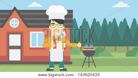 An asian man with bottle in hand cooking meat on gas barbecue grill in the backyard and giving thumb up. Man cooking meat on barbecue. Vector flat design illustration. Horizontal layout.