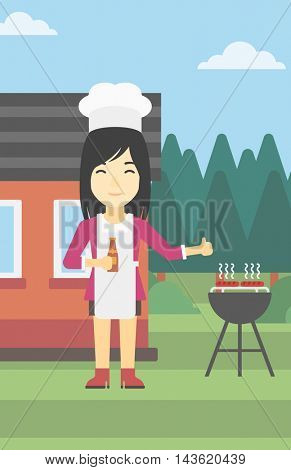 An asian woman with bottle in hand cooking meat on gas barbecue grill in the backyard and giving thumb up. Woman cooking meat on barbecue. Vector flat design illustration. Vertical layout.