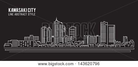 Cityscape Building Line art Vector Illustration design - Kawasaki city