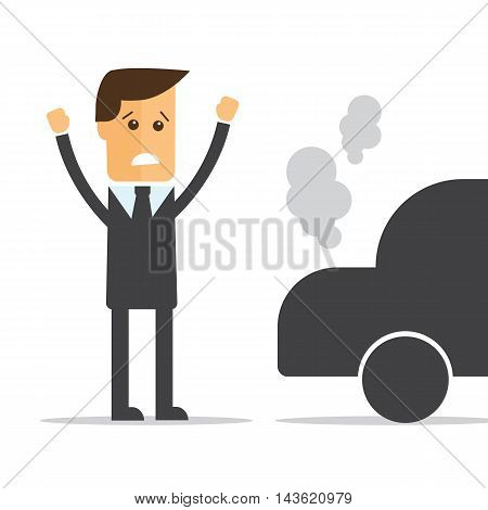 Businessman car broke down vector eps 10