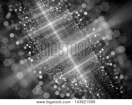 New technology starburst with particles in space black and white computer generated intensity map for screen or overlay