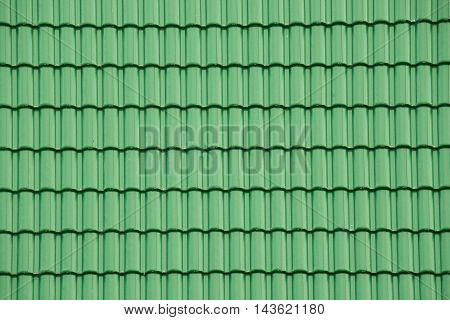 Green tile roof for texture and background