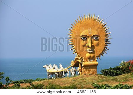 Golden Carriage With Four White Horses In The Temple Complex Murudeshwar, Carrying To The Sea With A