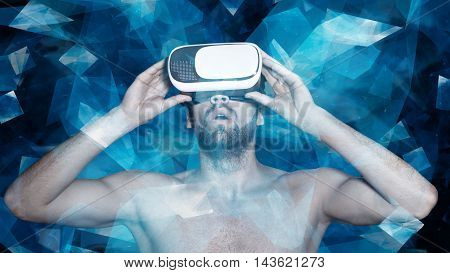 Naked man with virtual reality glasses in polygonal virtual world