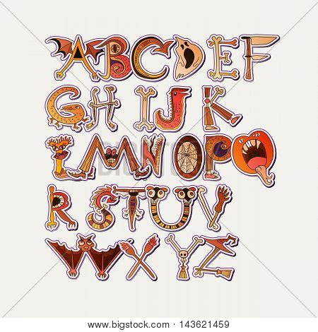 Horrible halloween font for your design. Alphabet of monster characters.
