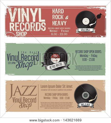 Vinyl Record Shop Retro Grunge Banner 1.eps