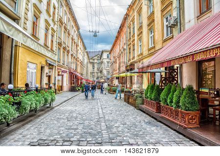 Lviv Ukraine - August 11 2016: Staroievreiska St. city center Lviv Ukraine
