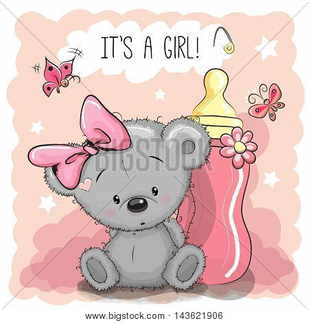 Cute Cartoon Teddy bear girl with feeding bottle