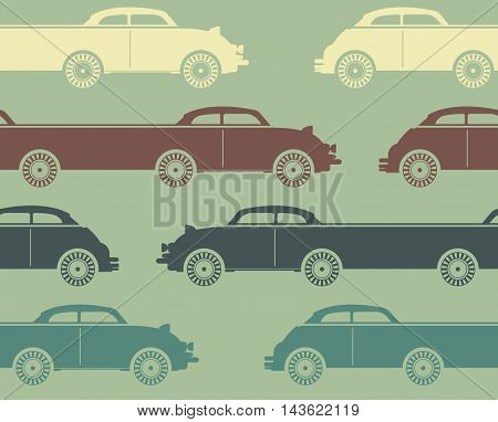 Decorative pattern with colorful retro cars on light green background. Template can be used for paper, linen,   tissue, design fabric and more creative designs.