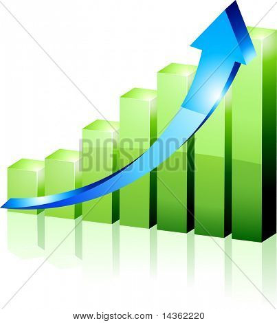 3d growth diagram. Vector illustration.