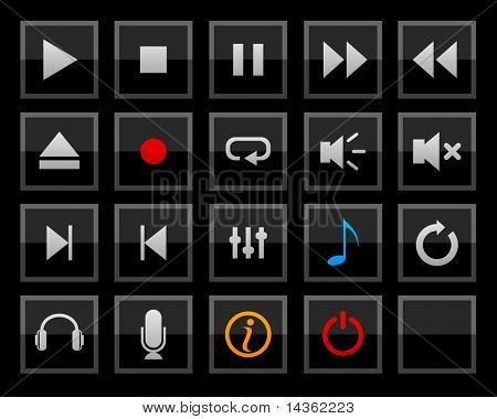 Set of player buttons. Vector.