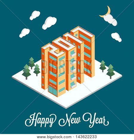Isometric buildings in the form of 2017. New Year poster flyer template. Real estate. Winter landscape. Holiday vector illustration on a blue background