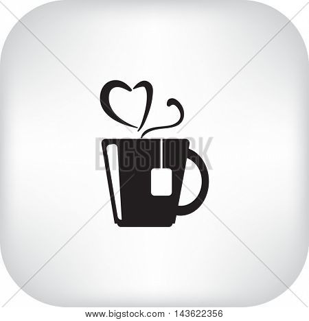 Flat icon. Hot tea. My favorite tea. The steam in the form of heart.