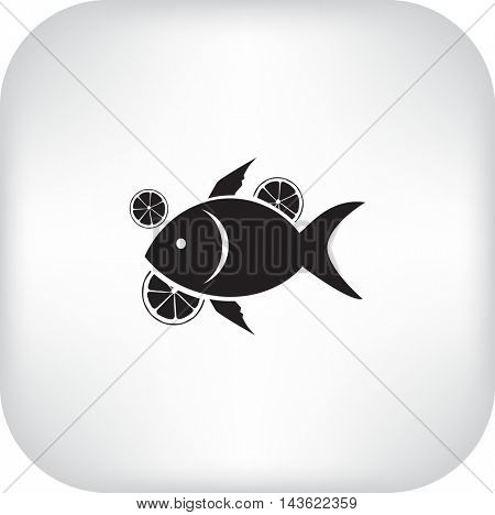 Flat icon. Fish with citrus.
