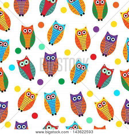 Cartoon owl seamless texture cute owl background owl children's wallpaper. Vector illustration