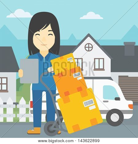 An asian delivery woman with cardboard boxes on troley. Delivery woman with clipboard. Woman standing in front of delivery van. Vector flat design illustration. Square layout.