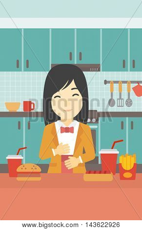 Young woman with eyes closed touching her tummy. Satisfied woman had the best ingestion. Woman standing in front of table with fast food in the kitchen. Vector flat design illustration. Vertical