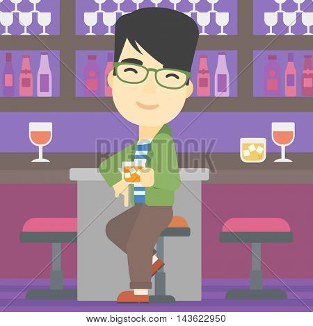 An asian man sitting at the bar counter. Man sitting with glass in bar. Cheerful young man sitting alone at the bar counter. Vector flat design illustration. Square layout.