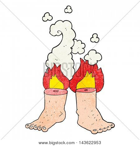 freehand textured cartoon of spontaneous human combustion