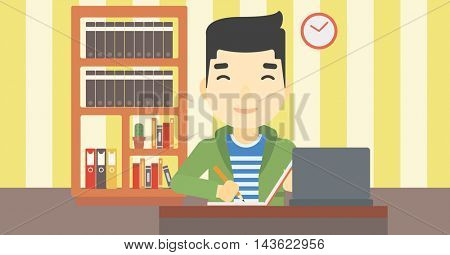 An asian young student sitting at the desk with laptop. Student using laptop at home and writing notes. Student working on laptop. Vector flat design illustration. Horizontal layout.
