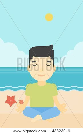 An asian young man meditating in yoga lotus pose on the beach. Man relaxing on the beach in the yoga lotus position. Vector flat design illustration. Vertical layout.