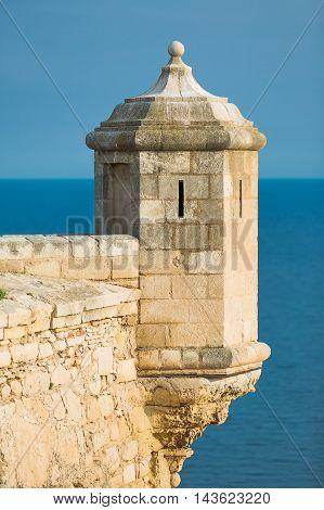 Old Watchtower in Santa Barbara Castle, Alicante Spain