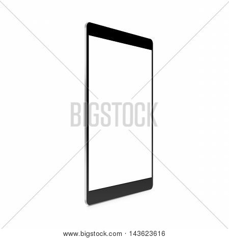 Black tablet blank screen mock up profile stand 3d illustration. Mockup of portable pc empty display isolated. Tablet computer space monitor mock-up side.