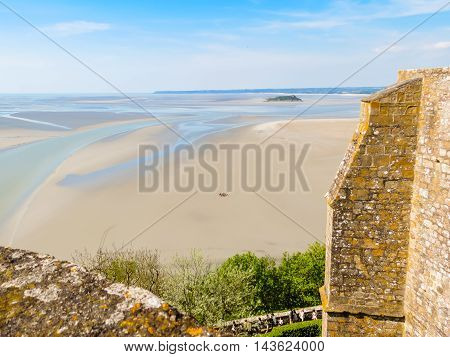 Roof of abbey Mont Saint-Michel, view of the bay. France