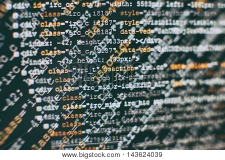 Software Developer Programming Code. Abstract Computer Script Code. Selective Focus