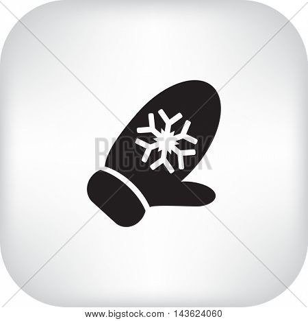 Flat icon. Winter mitten with snowflakes.