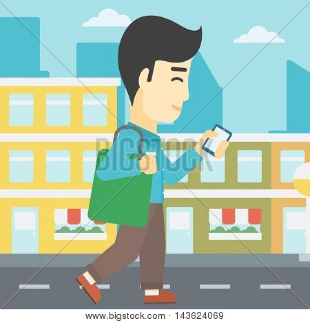 An asian young man walking with smartphone and handbag. Man using smartphone in the city street. Smartphone addiction. Vector flat design illustration. Square layout.