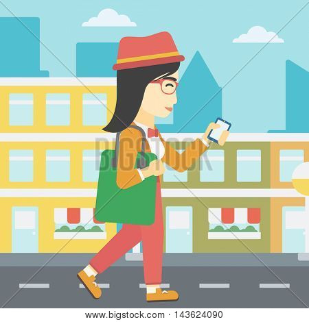 An asian young woman walking with smartphone and handbag. Woman using smartphone in the city street. Smartphone addiction. Vector flat design illustration. Square layout.