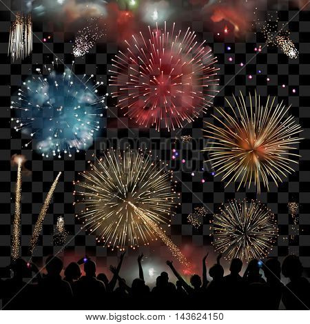Holiday Celebration with fireworks show at night, silhouette of people watching a festive fireworks display, set vector graphic elements