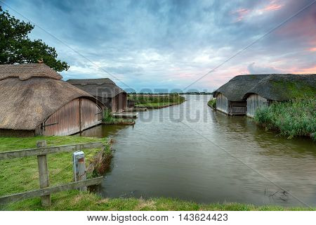 Boat Houses On The Norfolk Broads