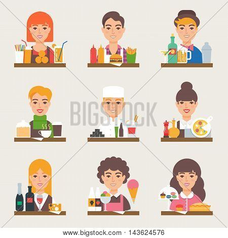 Food and drink vector set. Small business. Fast food