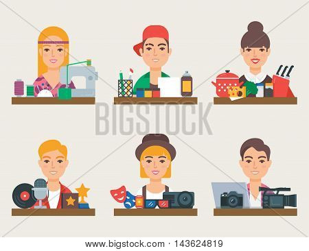 Hobbies vector set: sewing, art, cooking, music, cinema, photography