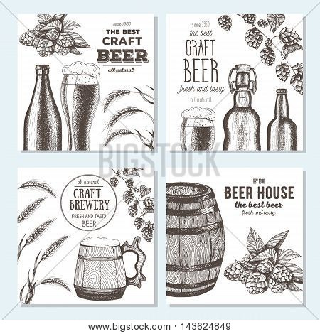 Banner set. Vector illustration in sketch style. Hand drawn beer banners. Line drawing