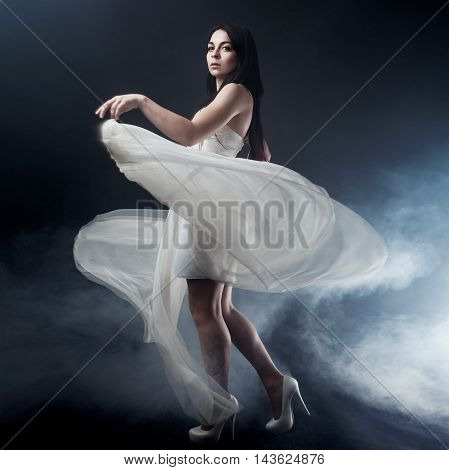 Portrait of girl in long white dress, mystical, mysterious style, dark background