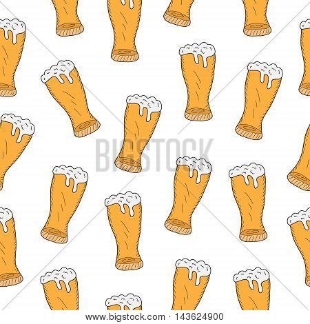 Beer seamless texture beer background beer wallpaper. Vector illustration