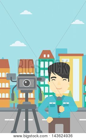An asian reporter with microphone standing on a background with camera. TV reporter presenting the news. TV transmission with a reporter. Vector flat design illustration. Vertical layout.