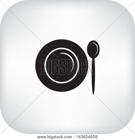 Flat icon. Plate and spoon. Dinner. Food.
