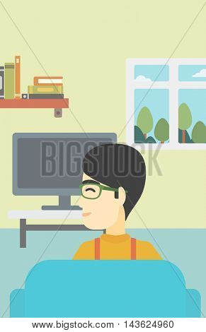 An asian young man sitting on the couch in living room and watching tv. Vector flat design illustration. Vertical layout.