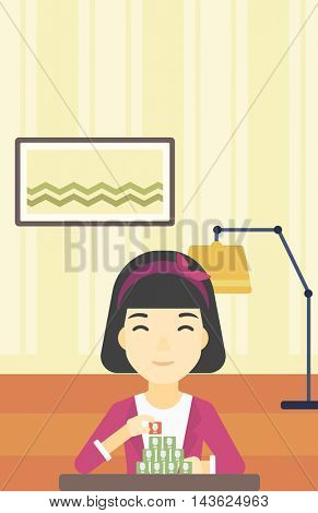 An asian woman making pyramid of network avatars on the background of room. Woman building social network. Networking and communication concept. Vector flat design illustration. Vertical layout.