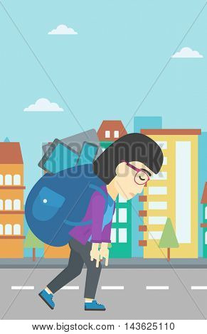 An asian young woman walking with backpack full of different devices. Woman walking with many electronic devices in the city street. Vector flat design illustration. Vertical layout.