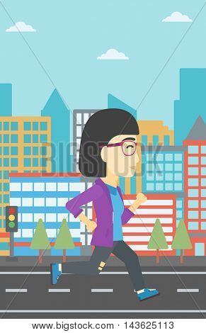 An asian young woman running. Female runner jogging. Full length of a female athlete running. Sports woman running on a city background. Vector flat design illustration. Vertical layout.