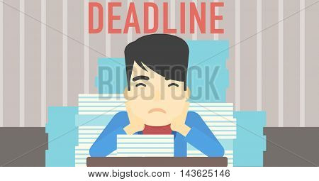 An asian stressed businessman sitting at the table with stacks of papers. Businessman having problem with deadline. Deadline concept. Vector flat design illustration. Horizontal layout.