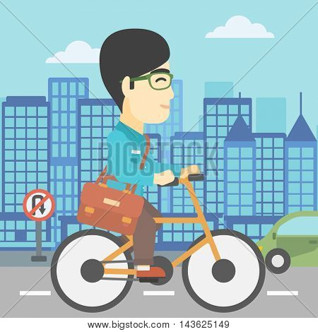 An asian young man riding a bicycle. Cyclist riding bike on city background. Businessman with briefcase on a bike. Healthy lifestyle concept. Vector flat design illustration. Square layout.