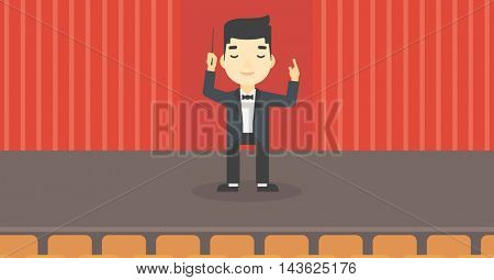 An asian young orchestra conductor directing with baton. Concentrated man conducting an orchestra on the stage. Vector flat design illustration. Horizontal layout.